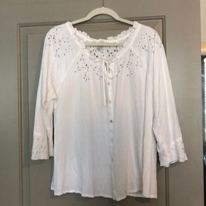 Eyelet drawstring summer top
